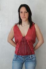 MARITHE FRANCOIS GIRBAUD top bustier soie cupro bordeaux T 44 * NEUF ÉTIQUETTE *