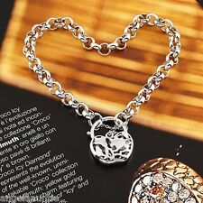 18K White Gold Filled Filigree Heart Padlock Belcher Bracelet (B-256)