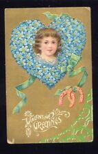 1909 VALENTINE GREETINGS Forget Me Not Heart Postcard