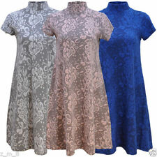 Polyester Polo Neck Casual Floral Dresses for Women