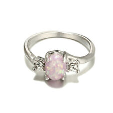 Silver Fire Opal Gemstone Ring Wedding Jewelry Engagement Gifts Size 5-10
