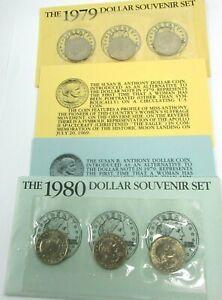 The 1979 &1980 Susan B. Anthony Dollar Souvenir Sets PDS Uncirculated Mint Sets