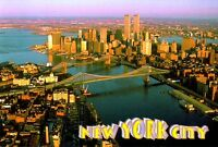 World Trade Center Pre 9/11 Postcard Twin Towers East River Aerial WTC NY MT VTG