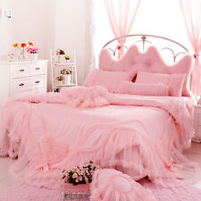 wedding bedding set 4pcs cotton lace princess bed skirt duvet cover pillowcases