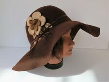 Lord & Taylor Dark Brown Wide Brim 100% Wool Felt Womens Hat Md in Italy