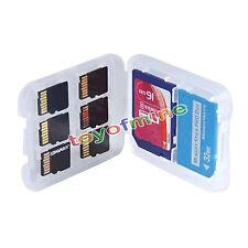 Transparent Boîte Etui Rangement Protection Carte Mémoire Pour 6xTF+SD+SDHC+MS