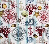 Nautical Navigation Ship Anchor Compass Cotton Quilting Fabric David Textiles