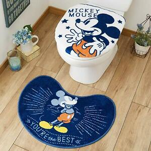 Disney Toilet Cover & Mat Set Mickey Classic Blue