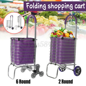 Folding Shopping Cart Basket Wheel Grocery Collapsible Utility Trolley Handcart