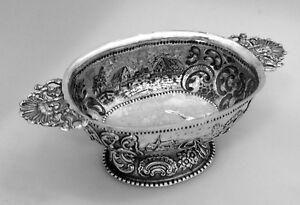 Dutch 833 Silver Brandy Bowl Village Scenes 1800