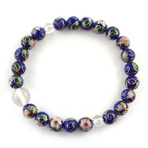 Japan Handmade cloisonné enamel beads & Clear Crystal beads Bracelet for Unisex