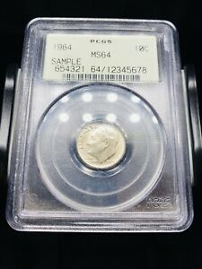 1964 Roosevelt Dime PCGS Sample Slab MS64