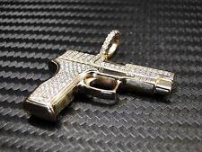14K Yellow Gold Diamond Gun Pendant Charm 0.61Cts Round Brilliant Cut Sig Sauer