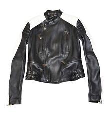 Ralph Lauren Denim Women Black Label Lamb Leather Motorcycle Jacket Size 2 Black