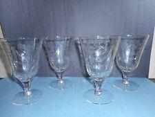 Vintage Crystal Wine Glasses Stemware   Etched Floral Design   Set of 4