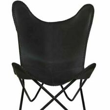 Black Rose Butterfly Chair Iron Stand and Leather Cover Indoor Outdoor Chair by