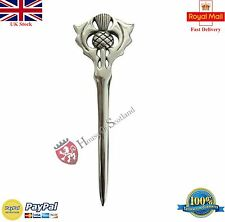 "Scottish Kilt Pin Thistle Hilt 4""/Celtic Sword Kilt Pin Chrome Finish/Brooch Pin"