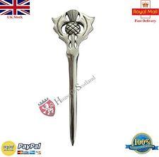 """Scottish Kilt Pin Thistle Hilt 4""""/Celtic Sword Kilt Pin Chrome Finish/Brooch Pin"""