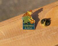 "Fairbanks Alaska Gold Tone Metal & Enamel 1"" Lapel Pin Pinback"