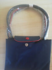 New Le Longchamp Pliage Nylon Tote Handbag Blue Large Authentic France`