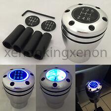 JDM Manual Transmission BLUE LED Light Silver Sport Gear Stick #u2 Shift Knob