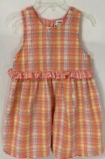 Vintage GYMBOREE Girls Size 6-7 Plaid Seersucker Sleeveless Dress 1998