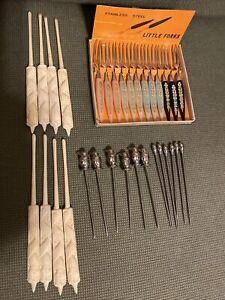 Assortment Of 32 appetizer cocktail Picks Forks Bakelite Stainless Steel Dragon