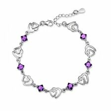 Women's Girls Charm Bracelet Silver Friendship Heart Purple Crystal Stone UK