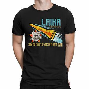 Mens ORGANIC T-Shirt LAIKA SPACE DOG Soviet Union USSR Russia SPUTNIK 2 Moscow
