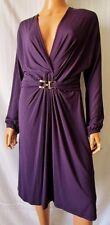SEVENTY ABITO Vestito DRESS TG.46 elegante in viscosa con fibbia logata oro