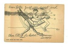 1916 WWI propaganda postcard boxing military branch our boys on the job used