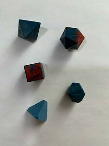 Lot of 5 Rare Vintage Dungeons & Dragons Dice Blue Red D4 D6 D8 D10 D20 RPG Game