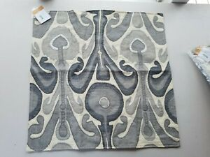 "Pottery Barn Kenmare Ikat Embroidered Gray Pillow Cover 24"" #3520"