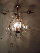 Vtg Midcentury  Eames Era Glass Prism Brass Chandelier 3 Lamp Unique Style