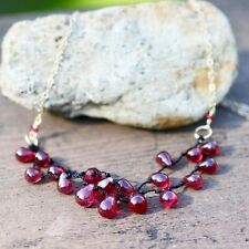 Multi Gem Smooth Natural Ruby Necklace Solid 14K Gold , 40th Anniversary , July