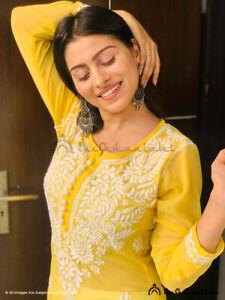 Yellow Gala Booti Kurta Lucknow Chikankari Georgette Kurti Ethnic Handmade Top