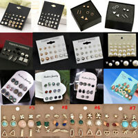 6/10/24Pair/set Fashion Women Rhinestone Crystal Pearl Ear Stud Earrings Jewelry