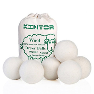 "KINTOR Wool Dryer Balls XL 6 Pack 2.95"", 100% New Zealand Wool Organic Fabric &"