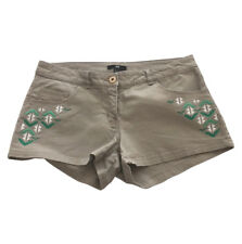 Womens H&M Size 6 Tan Shorts Low Rise Southwest Embroidered Trim Stretch
