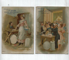 2 Antique AD Cards - Black Americana & Romance