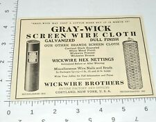 1920s Vintage Print Ad 1927 Wickwire Brothers Hex Nettings Cortland New York
