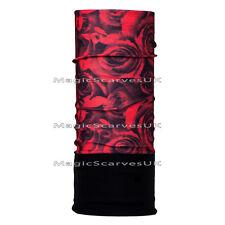 Thermal Polar Fleece Neck Warmer Tube Face Mask Biker Scarf Balaclava Red Roses