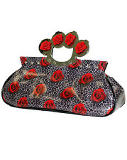 Too Fast Knucks Roses and Leopard Clutch Purse