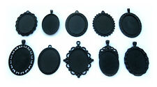 10 Assorted Gothic Black Metallic 40mm x 30mm CAMEO PENDANTS Frames Settings LOT
