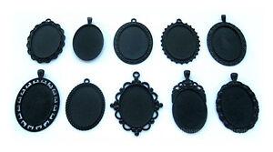 10 Mixed Goth Emo Black Metallic 40mm x 30mm CAMEO PENDANTS Frames Settings LOT