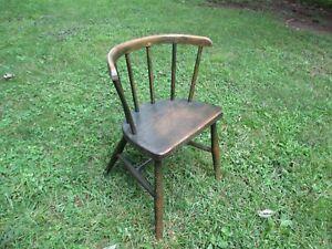 "Antique Child's Windsor Chair 19 3/4"" High 12.5"" Seat Height Original Green"