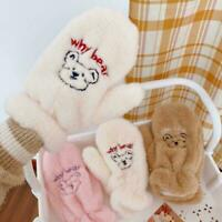 Winter Soft Cashmere Gloves Cartoon Bear Plush Cute Full Gloves Fingers T4H7
