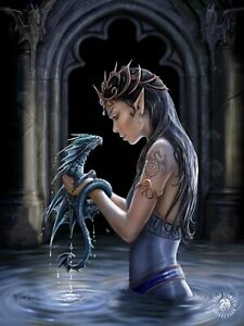 3D Picture Gothic Art Anne Stokes Water Dragon Size 39 x 29 cm approx New