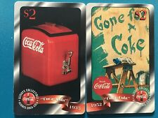 Lot of 2 Coca-Cola Sprint Phone Card $2 -Gone for a coke Issued: 4/96-unused