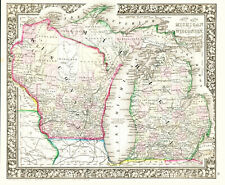 1863 MITCHELL Hand Colored Map WISCONSIN & MICHIGAN- Outstanding - Civil War Era